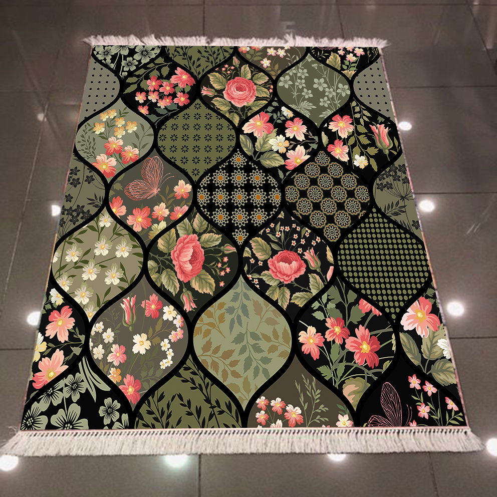 Else Black Green Roses White Flowers Geometric Ogee Turkish 3d Print Anti Slip Back Washable Decorative Kilim Area Rug Carpet