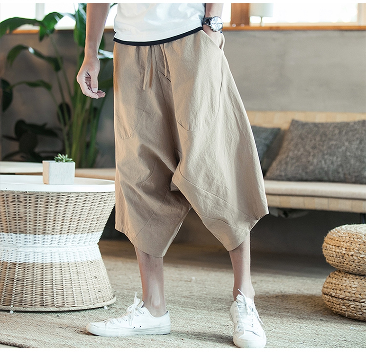 MRDONOO Men Pants Men's Wide Crotch Harem Pants Loose Large Cropped Trousers Wide-legged Bloomers Chinese Style Flaxen Baggy 104