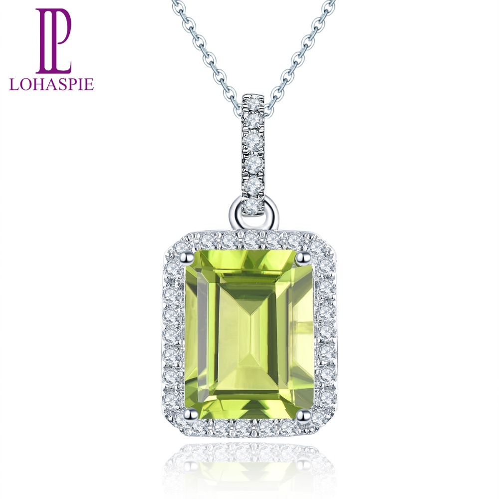 LP diamant-bijoux solide 14 K or blanc pierre précieuse naturelle péridot 2.30 Carats pendentif classique mode pierre pour cadeau femme