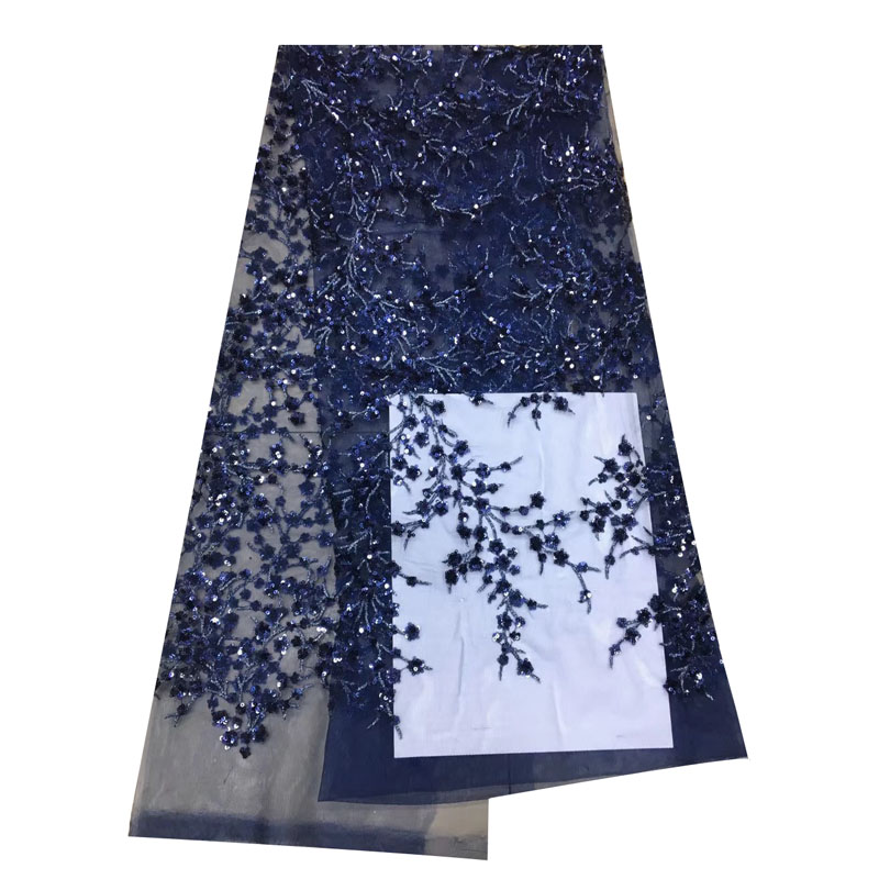 African French Lace Fabric High Quality 2018 New Arrival nary blue sequin lace fabric Embroidered Mesh