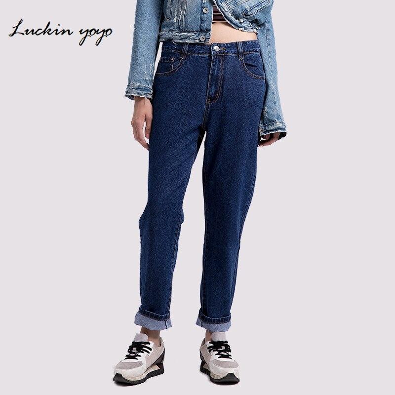 2019 Mode Lukin Yoyo 2018 Plus Größe Jeans Frauen Mom Jeans Hohe Taille Denim Frauen Hosen Beiläufige Lose Gerade Blau Frauen Jeans SchnäPpchenverkauf Zum Jahresende