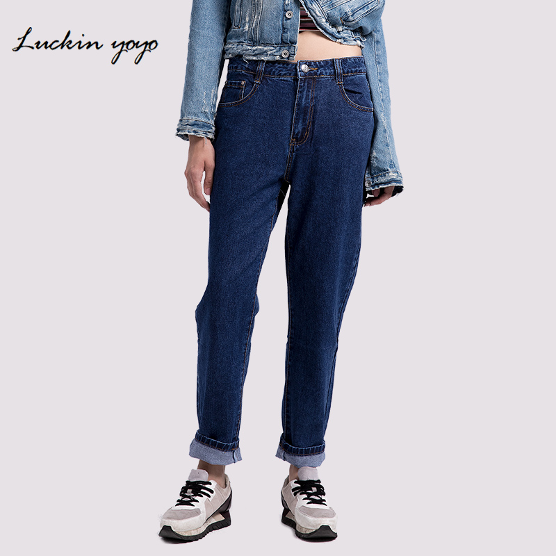 Lukin Yoyo Plus Size Jeans Women Mom Jeans High Waist Denim Women Pants Casual Loose Straight Blue Women Jeans