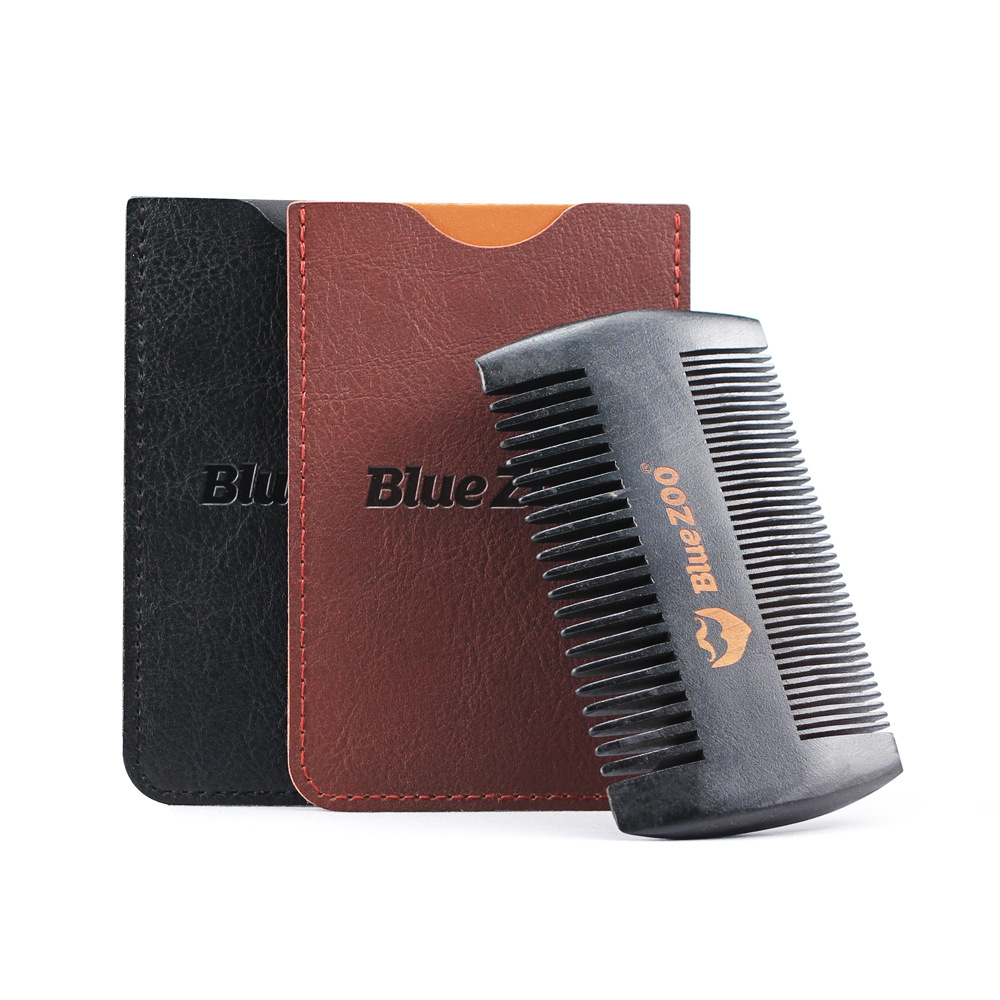 Black Wooden Comb Anti-Static Beard Comb Brush Mustaches Pocket Wood Comb Black and Brown Colors Protective Cover