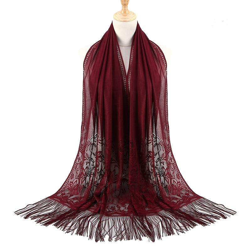 Women Muslim Lace Hijab Bandana Pashmina Fashion Hollow Out Tassels Scarf Ivory White Wedding Party Veil Floral Scarf Shawls