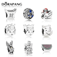 DORAPANG 100 925 Sterling Silver Beads Fish Charms With Enamel And CZ Fit Original Bracelet DIY