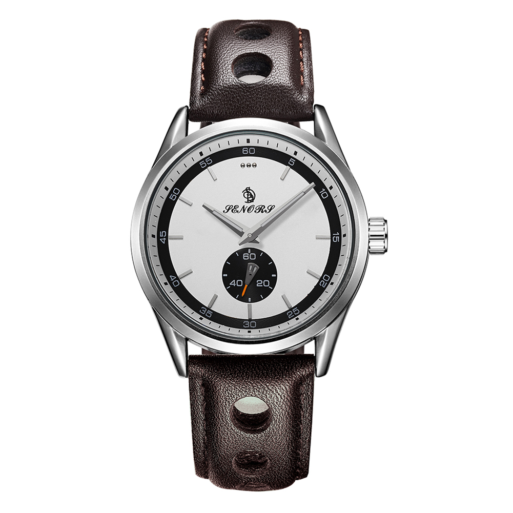 Men Fashion Business Round Dial Casual Quartz Wrist Watch Sub-dial Gift