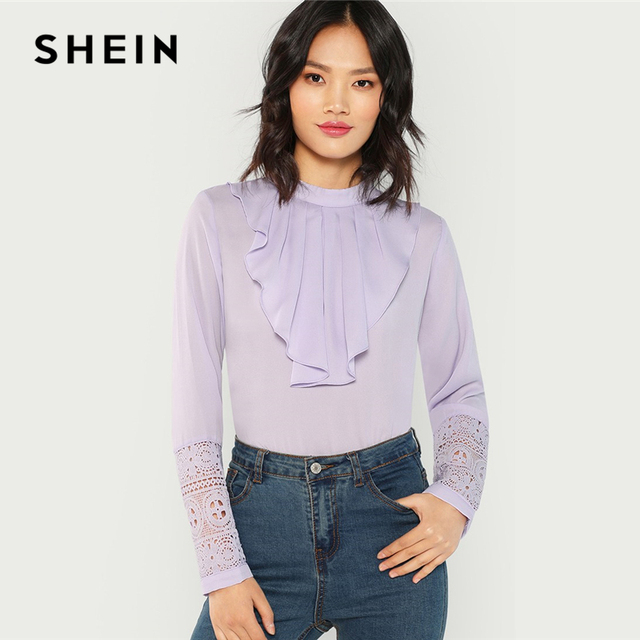 aabf46f4b15609 SHEIN Purple Flounce Neck Lace Cuff Top Long Sleeve Stand Collar Blouse  Ruffle Button Elegant Women Autumn Office Lady Blouses