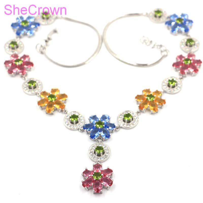 Beautiful 46 6g Flower Shape Multi Color Citrine Peridot Tanzanite Tourmaline CZ Silver Necklace 18 5
