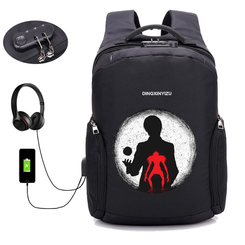 anime Death Note backpack Laptop student bookbag Teenager Male USB Charging Anti Thief Travel Backpack men