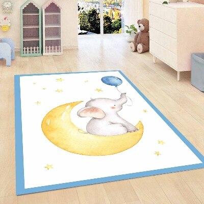 Else Blue Border Funny Elephant Yellow Moon Balloon Boy 3d Print Anti Slip Microfiber Children Kids Room Decorative Area Rug Mat