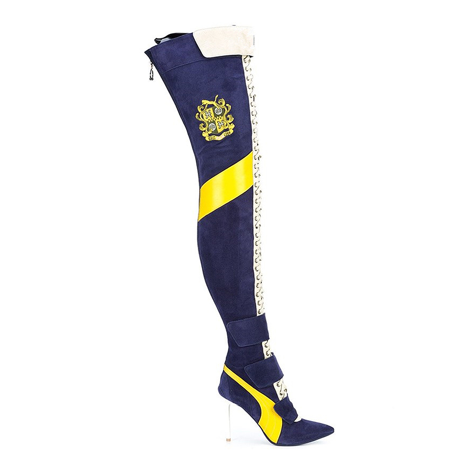 جديد وصول الأزرق خليط الفخذ أحذية عالية المرأة مدبب تو عالية الكعب الدانتيل يصل بوتاس largas مثير على الركبة فارس الأحذية-في أحذية فوق الركبة من أحذية على  مجموعة 3