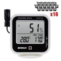 Термо-гигрометр крытый Открытый температура термометр ж/точка росы измерения и RH влажность сигнализации Лот из 16