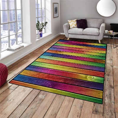 Else Blue Red Yellow Green Tree Wood 3d Pattern Print Non Slip Microfiber Living Room Decorative Modern Washable Area Rug Mat