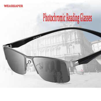 WEARKAPER Titanium alloy Outdoor Photochromic Reading Glasses Men Sun Automatic Discoloration Presbyopia Hyperopia Glasse - DISCOUNT ITEM  45% OFF All Category