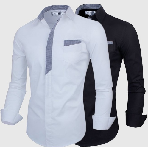 Geek Men's Shirt Fashion Simple False Pocket Pure Cotton Casual Slim Long Sleeve