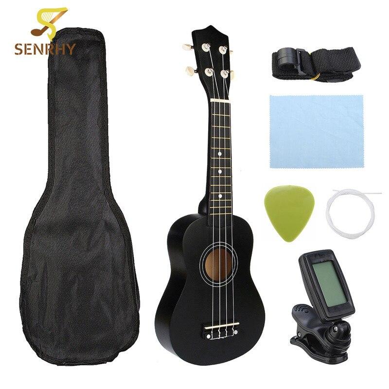 Senrhy Guitar Combo 21 Black Soprano Ukulele Uke Hawaii Bass Guitar Guitarra Musical Instrument Set Kits