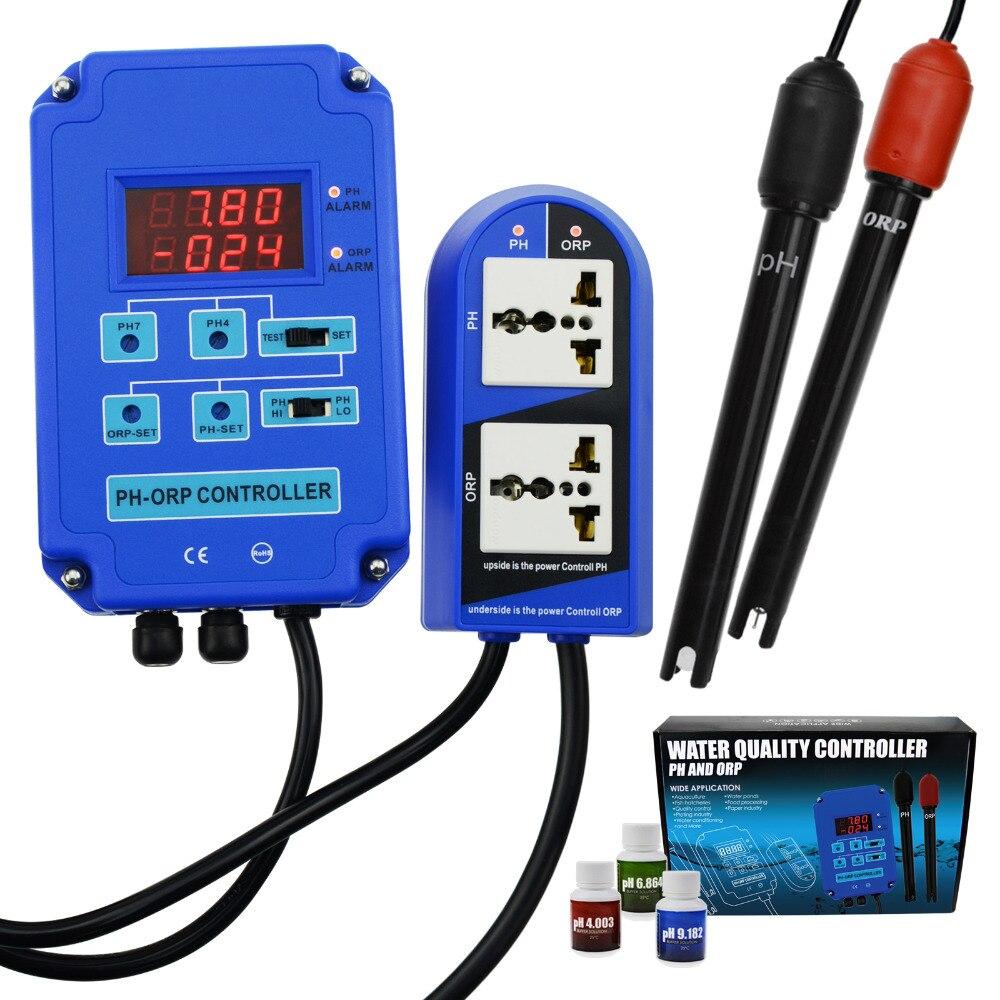 Digital pH Controlador ORP Redox 2 em 1 Monitor w/Potência De Saída de Controle do Relé Hidroponia Planta Do Aquário Piscina Spa 110 v ou 220 v