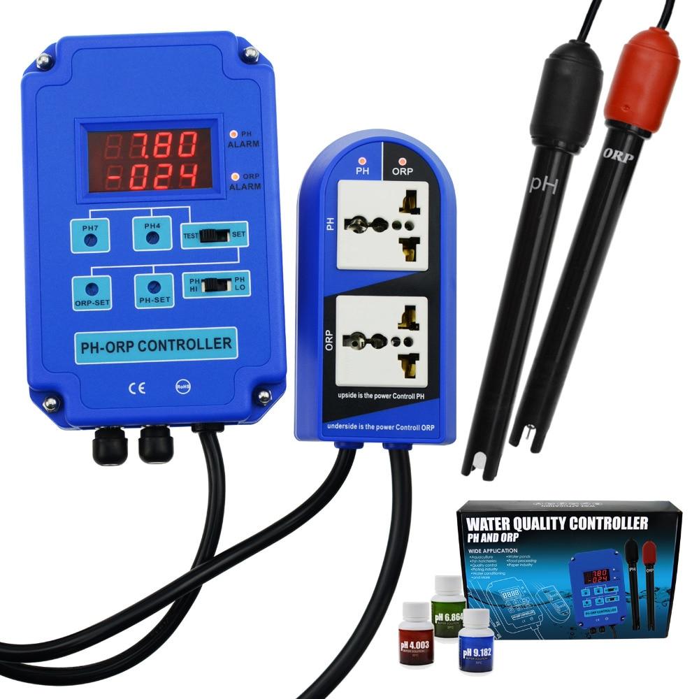 Numérique pH ORP Redox 2 en 1 contrôleur moniteur w/sortie puissance relais contrôle Aquarium hydroponique plante piscine Spa 110V ou 220V