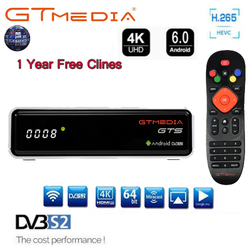 GTmedia GTS Satellite Receiver Amlogic S905D DVB S2 Android 6.0 TV BOX +DVB-S/S2 Smart TV BOX 2GB RAM 8GB ROM BT4.0 TV decoder
