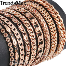 Trendsmax Bracelets for Women Men 585 Rose Gold Curb Snail Foxtail Chain Woman Bracelets 2018 Fashion Jewelry 18cm-23cm GBB1