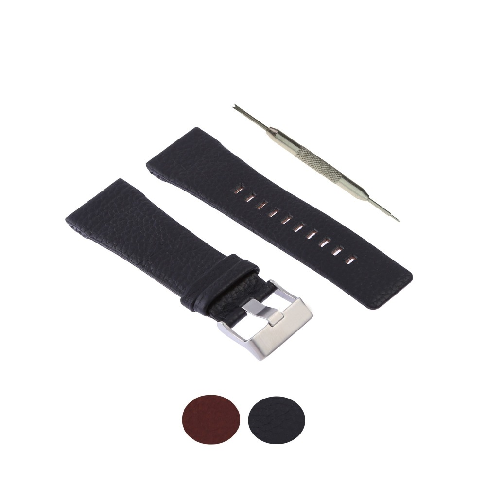 MDNEN Genuine Leather Watch Band Strap 28mm Fits For Diesel DZ1114 - Free Spring Bar Tool