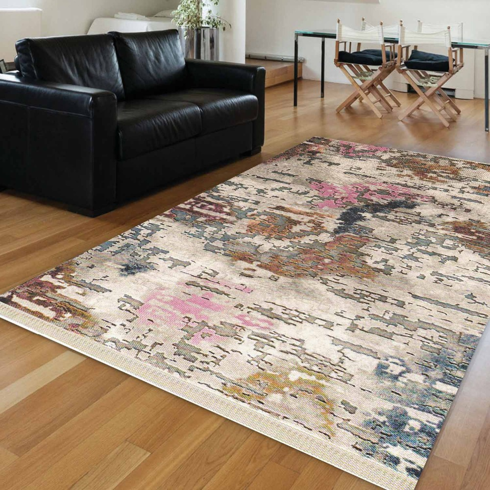 Else Pink Blue Cream Brown Turkish Vintage Abstract Aging 3d Print Anti Slip Kilim Washable Decorative Area Rug Bohemian Carpet