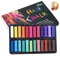 Temporal 24 ceras de colores para el cabello no-tóxicos tiza de color de pelo tinte pasteles palo DIY herramientas de peinado para niñas niños del Partido de Cosplay