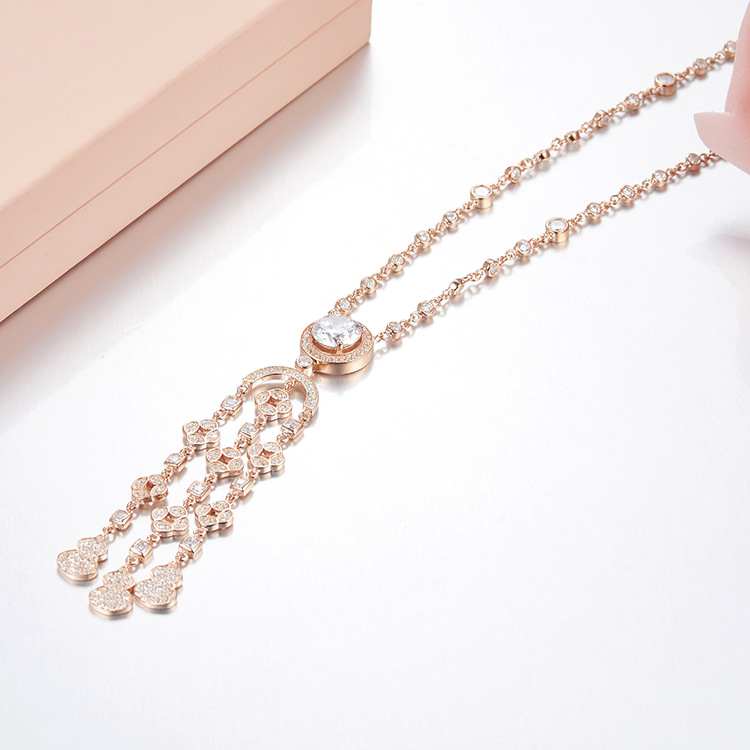 ZOZIRI brand big crystal drill Pendant necklace for women charm tassel long necklace 925 sterling silver wedding party jewelry luxury 925 sterling silver rhinestone torques for women big crystal pendant necklace silver plated banquet costume necklace