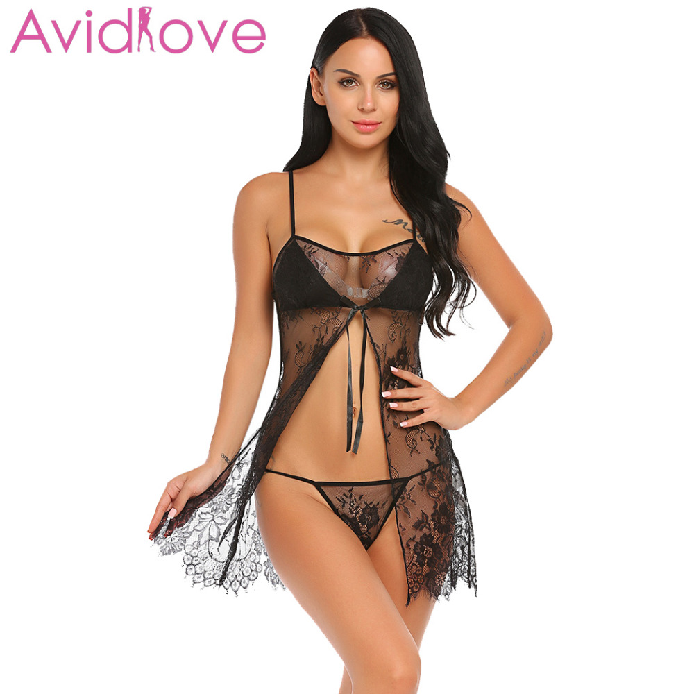 Buy Avidlove Women Costumes Sexy Lingerie Lace Erotic Babydoll Sexy Underwear Front Oepn Nightwear Lace G-string Sheer