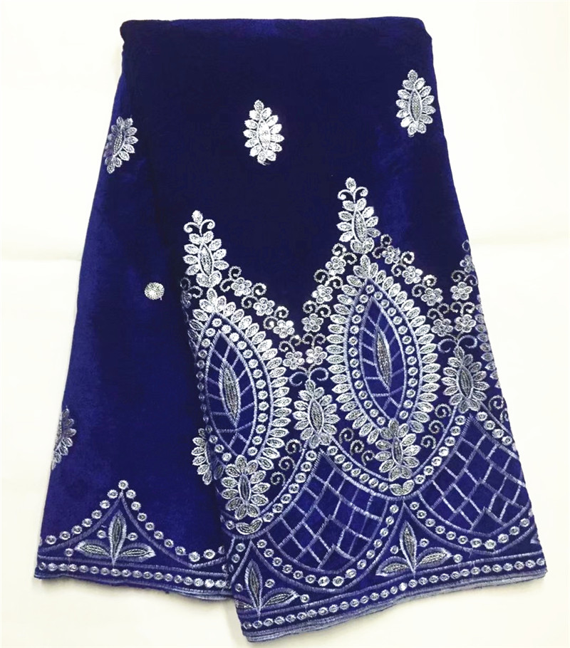 African Velvet Lace Fabric With Sequin soft velveteen material royal blue Velvet Lace for wedding dress