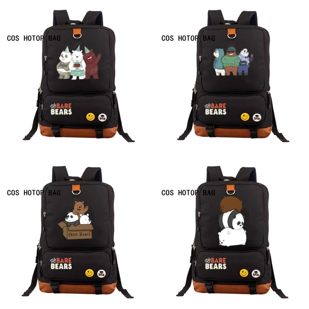 We Bare Bears backpack student books backpack school rucksack bear panpan casual men women laptop backpack shoulder bag 12 styleWe Bare Bears backpack student books backpack school rucksack bear panpan casual men women laptop backpack shoulder bag 12 style
