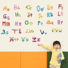 ФОТО cute kids room alphabet wall stickers remoavble school wall decals for children home decoration baby wall pictures