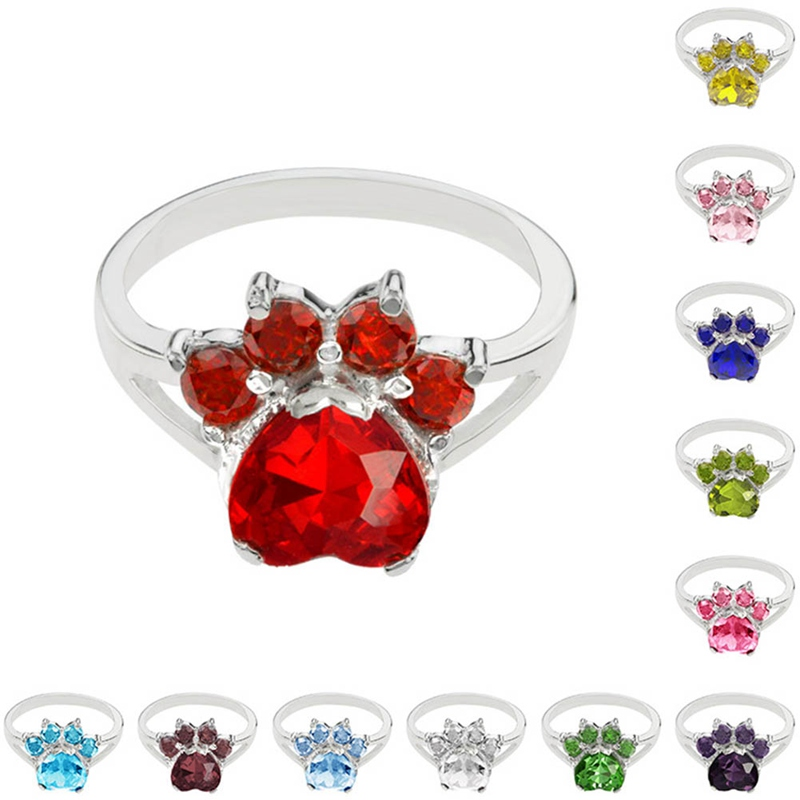 birthday jewelry Dog Animal Paw Print Birthstone Sterling