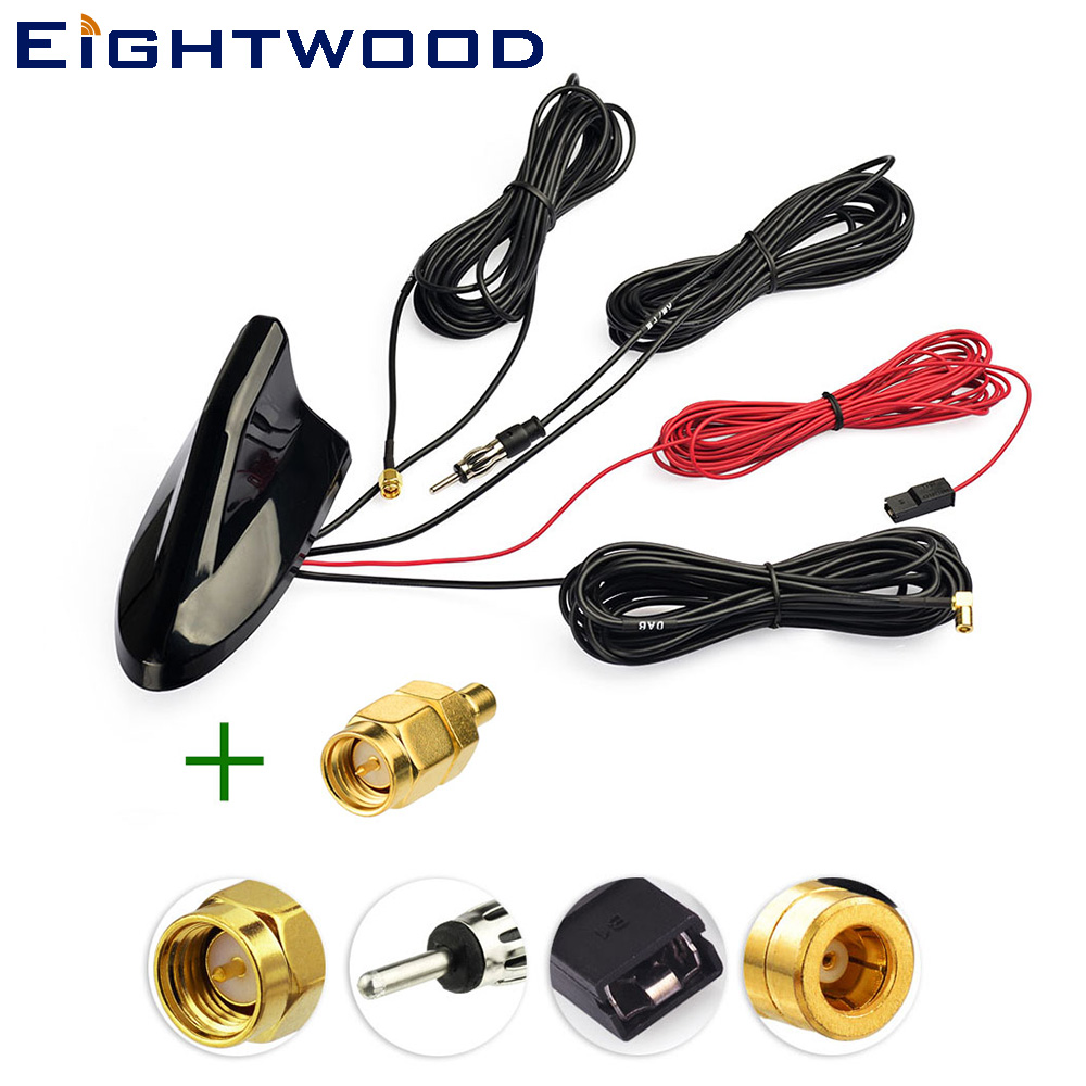Eightwood Car Roof Shark Fin Amplified Antenna,GPS Navigation,DAB Digital Radio Tuner,Receiver Car Stereo FM/AM Radio Combined-in Aerials from Automobiles & Motorcycles    1