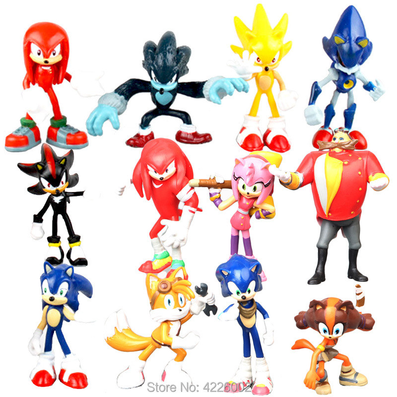 <font><b>Sonic</b></font> Boom Sticks Werehog Tails Amy Rose Model PVC <font><b>Action</b></font> Figures Knuckles Dr. Eggman Anime Figurines Dolls Kids Children Toys