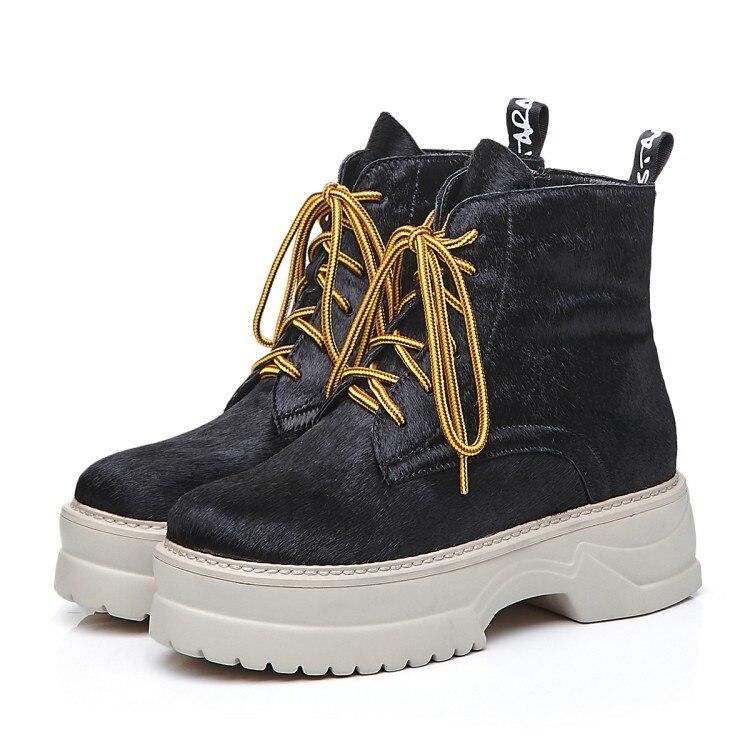 MLJUESE 2018 kobiety kostki buty z włosia końskiego zasznurować rzym styl żółty kolor zimowe krótkie pluszowe platformy buty damskie buty w Buty do kostki od Buty na  Grupa 3