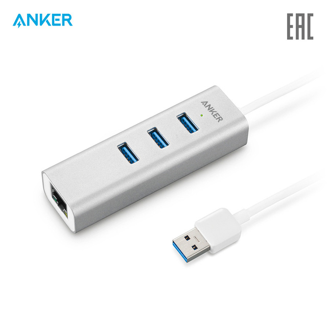 Разветвитель Anker 3-Port USB 3.0 Aluminum HUB with 10/100/1000 Gigabit Ethernet Converter хаб официальная гарантия, быстрая доставка
