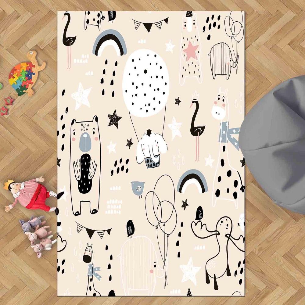 Else Pink Floor White Black Funny Animals Girls 3d Print Non Slip Microfiber Living Room Decorative Modern Washable Area Rug Mat