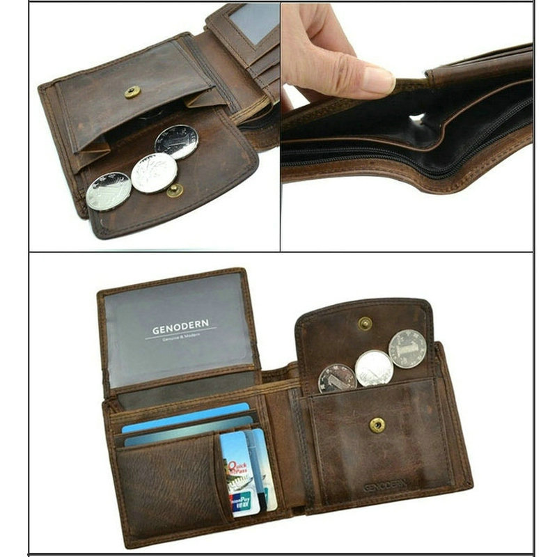GENODERN Cow Leather Men Wallets with Coin Pocket Vintage Male Purse Function Brown Genuine Leather Men Wallet with Card Holders 5