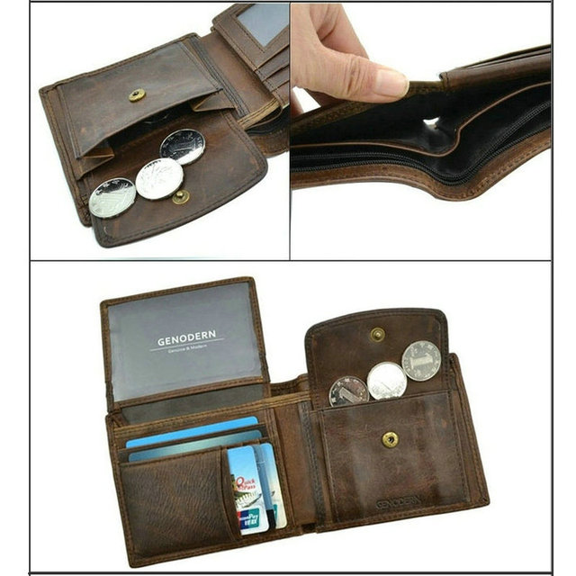 Genodern Cow Leather Men's Wallet with Coin Pocket 2