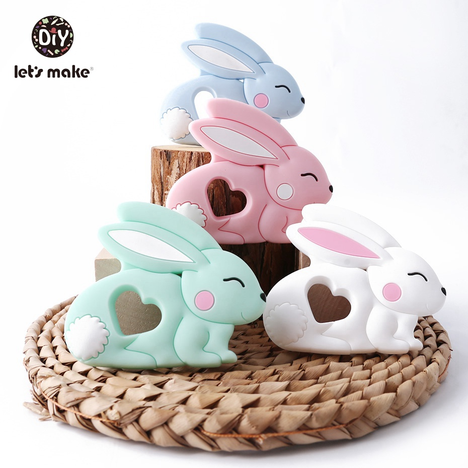 Baby Toys Silicone Rabbit Pendant 1PC Silicone Sweet Rabbit DIY Baby Jewelry Making DIY Handmade Silicone Baby Teether Rattles