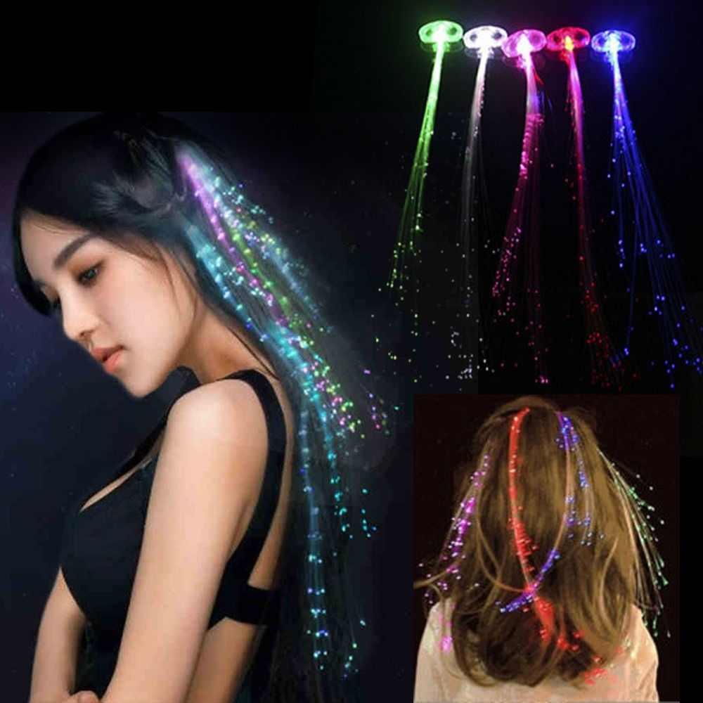 Halloween Navidad brillante pelo trenzado Clip horquilla colorido LED brillante Flash pelucas Show Año Nuevo Fiesta Navidad decoración supdeli