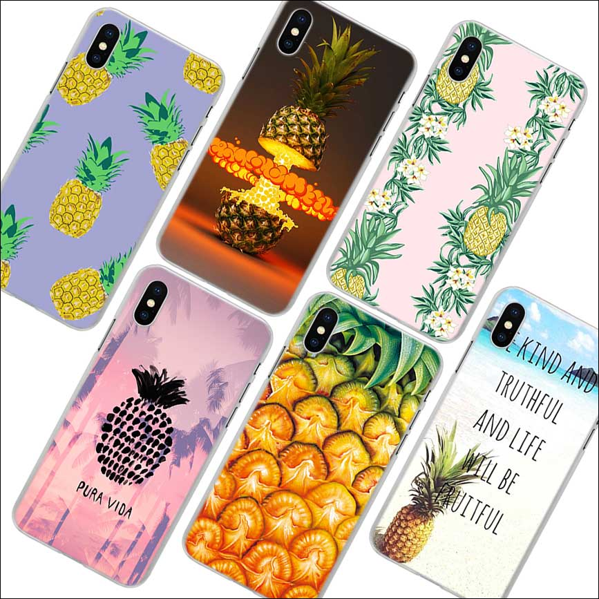 summer pink pineapple Pattern transparent hard Phone Cover Fundas Coque for Apple iPhone X 7 8 Plus 6 6s Plus 5 5s 4 4s