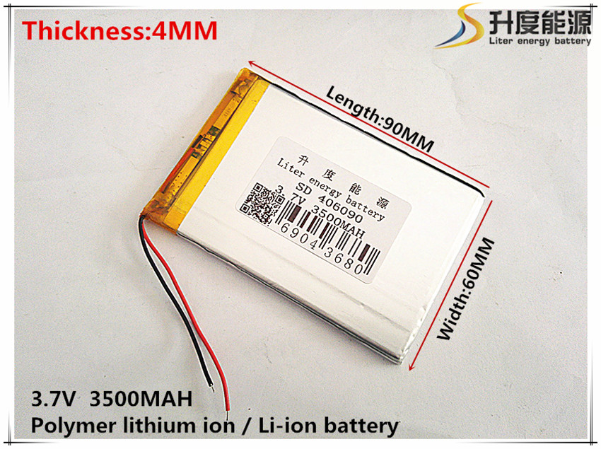 Size 406090 3.7V 3500mah Lithium polymer Battery With Protection Board For Tablet V3000HD MP4 GPS