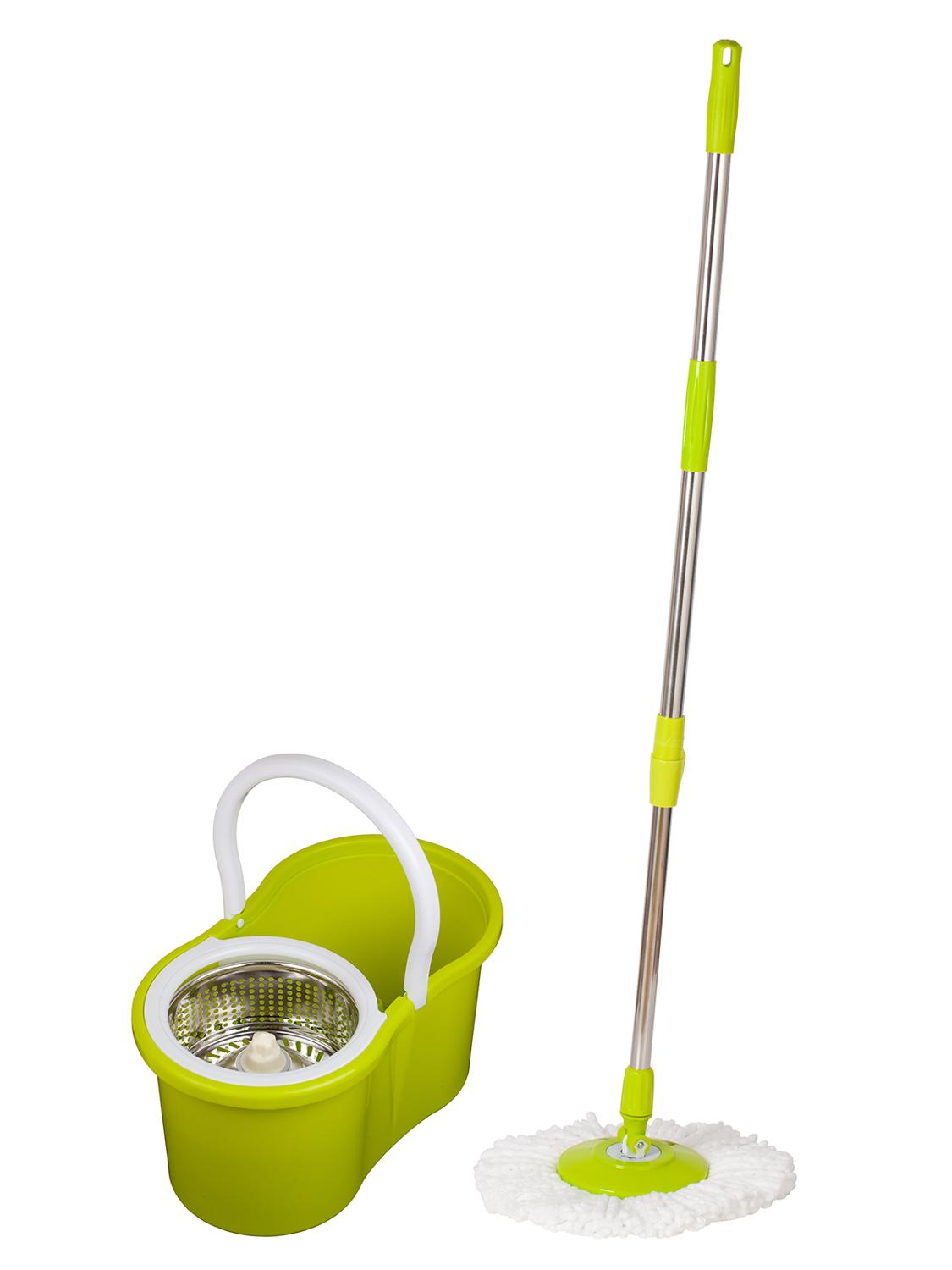 SOKOLTEC Mop Bucket Hand Free Wringing Stainless Steel Mop Self Wet And Cleaning System Dry Cleaning Microfiber Mop Spin Nozzle