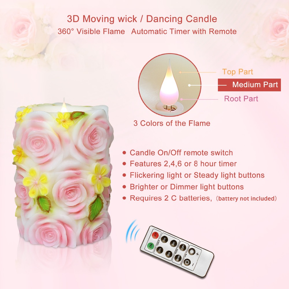 GiveU Scented Craft Candle 3D flickering Battery operated candle with timer for wedding candle decorations romantic candles|Candles|   - title=