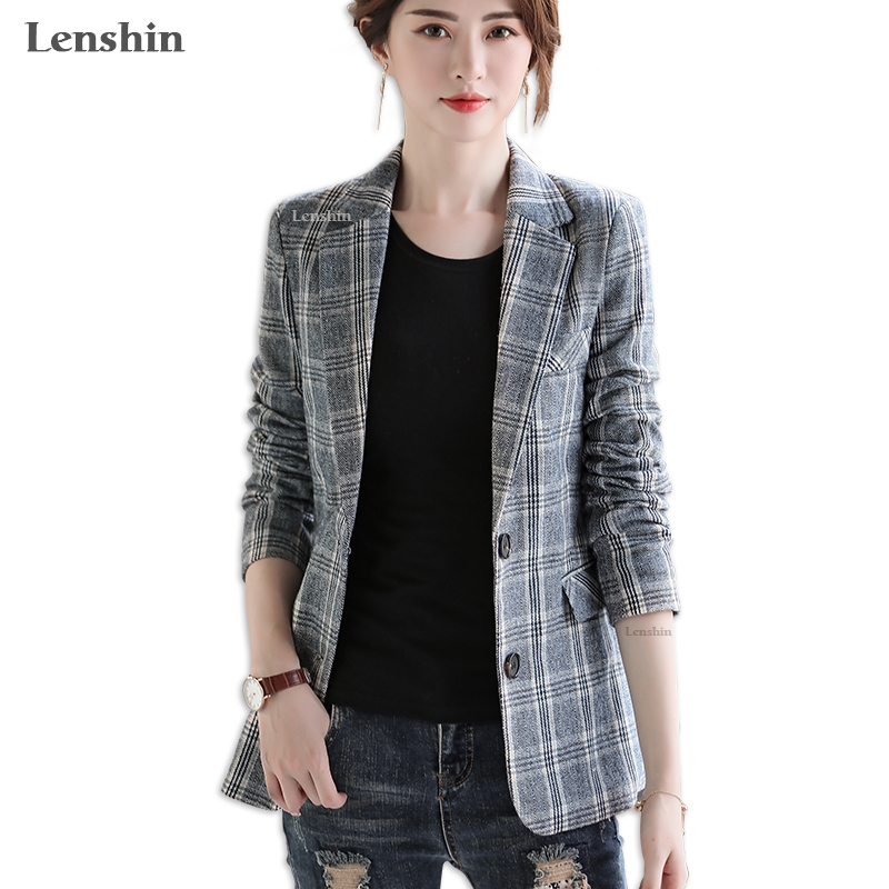 Lenshin Vintage England Style Plaid Coat with Pockets for Women Two Button Long Sleeve Jacket Fashion