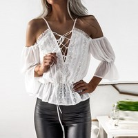 2017 Women Tops Sexy Flare Sleeve V Neck Blouses Shirts Fashion Spaghetti Strap Tassel Lace Hollow Out Bandage Casual Blusas