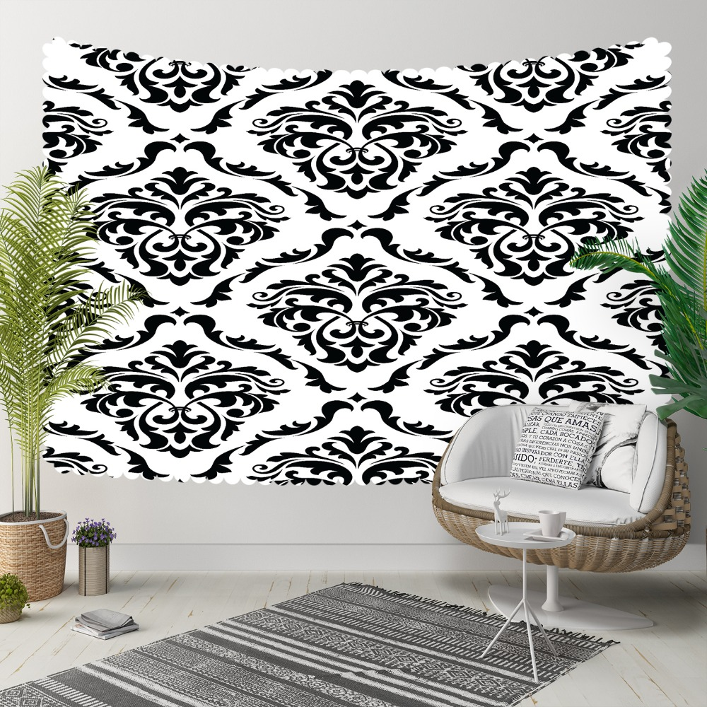 Else Black White Damask Ethnic Tradional Vintage 3D Print Decorative Hippi Bohemian Wall Hanging Landscape Tapestry Wall Art