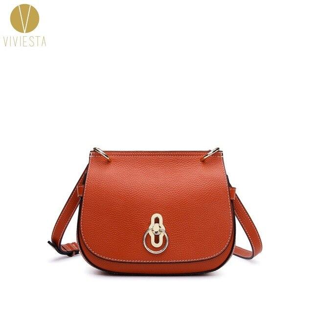 d6c415314ac2 US $37.39 15% OFF|PEBBLED LEATHER SADDLE SHOULDER BAG Women's Genuine Real  Leather Famous Designer Brand Small Crossbody Satchel Bag Handbag-in ...